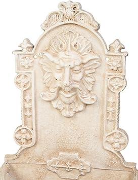 Pflanzschale Waschbecken Wandbrunnen Fabelwesen Eisen antik Stil Brunnen weiss