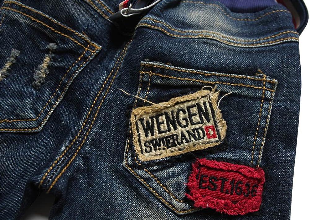 eTree Baby Boys Suspenders Patch Hole Cotton Denim Bib Pants
