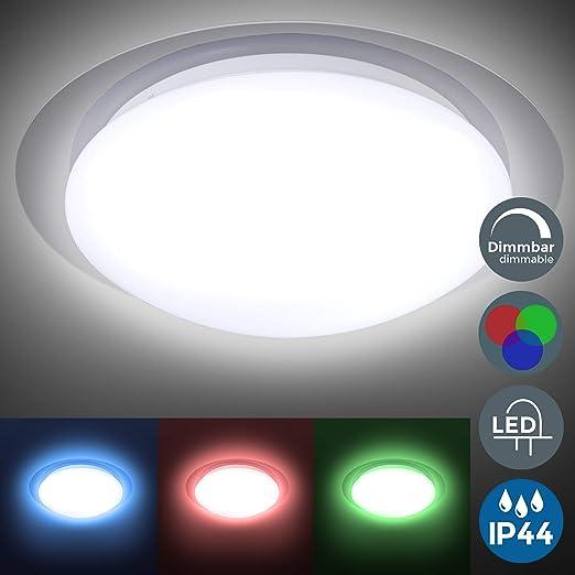 Plafón LED regulable I Lámpara de techo LED multicolor I 16 colores seleccionables con mando a distancia I Ø28cm 12W I Plafón para baño IP44 I ...