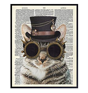 Steampunk Cat Dictionary Art - Upcycled 8x10 Funny Goth Home or Wall Decor Print for Bedroom, Veterinarian Office - Unique Gift for Vet, Boys, Men, Teens, Women, Kitty, Kitten, Feline, Pet, Cat Lovers