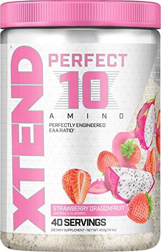 Scivation XTEND Perfect 10 Amino EAA Powder Strawberry Dragonfruit 5g Essential Amino Acids Branched Chain Amino Acids Electrolytes to Fuel Hydration Recovery 40 Serving