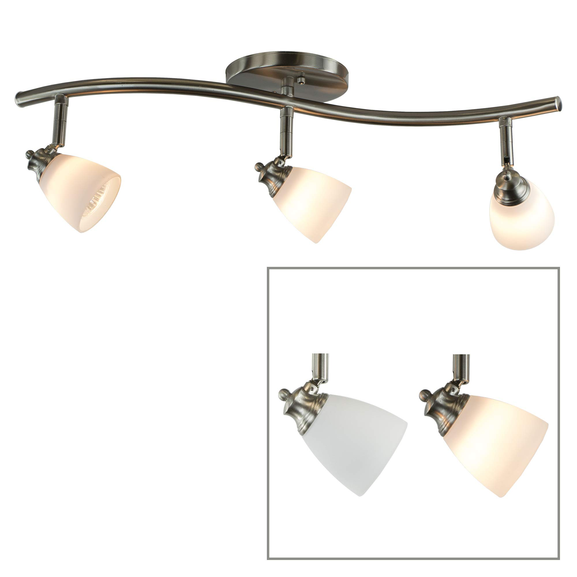 Direct-Lighting 3 Lights Adjustable Track Lighting Kit - Dark Bronze Finish - White Glass Track Heads - GU10 Bulbs Included. D268-23C-DB-WH
