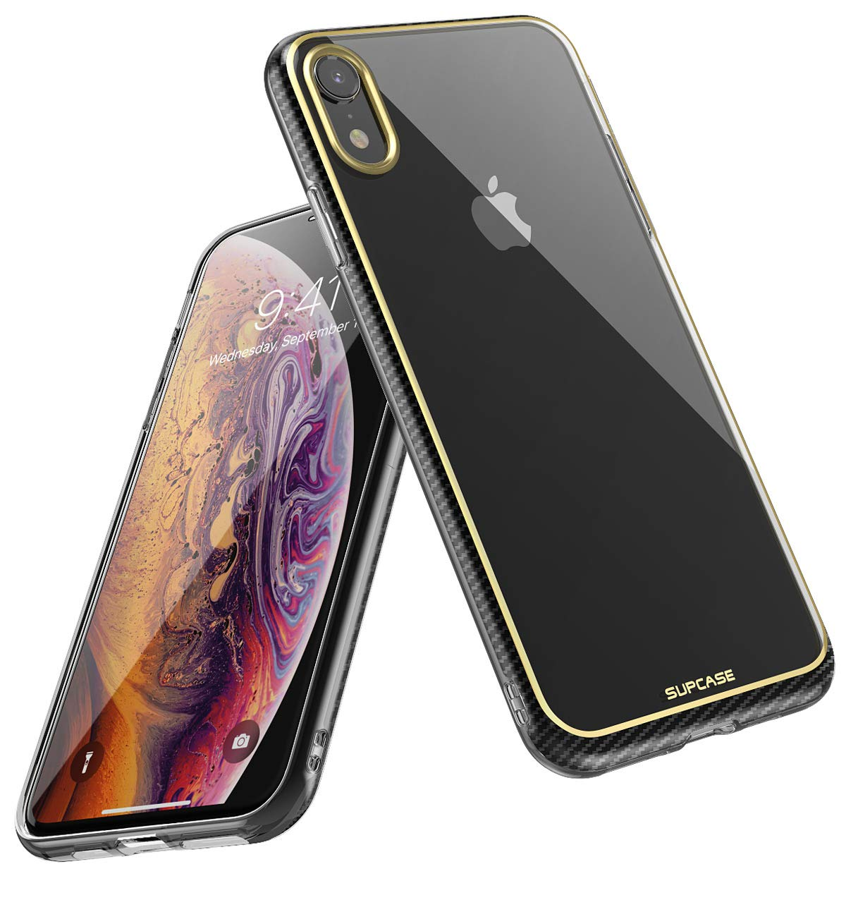 iPhone XR Case, SUPCASE Slim Clear Soft TPU Transparent Premium Protective Cover Supports Wireless Charging for iPhone XR 6.1 Inch (2018 Release) -Unicorn Beetle Metro Series (Gold)