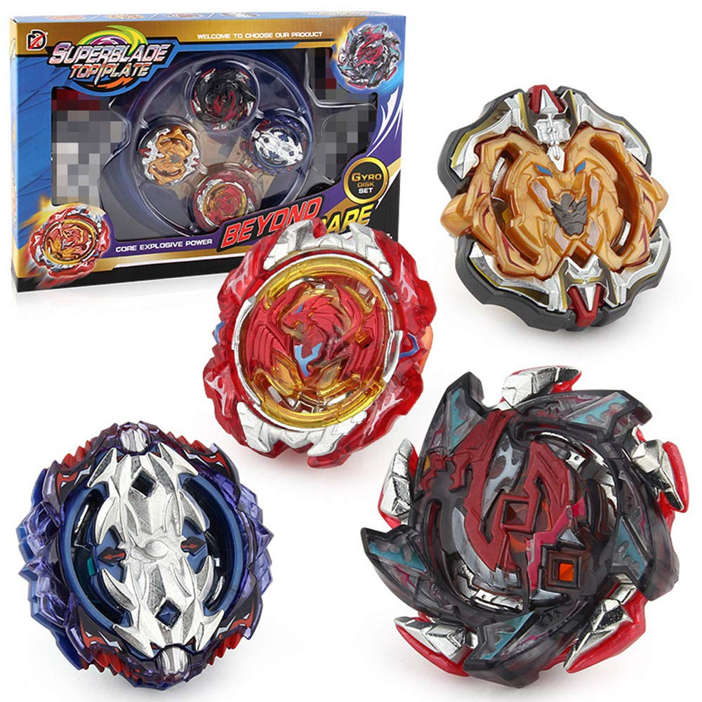 MUQG Speed Gyro Beyblade Burst Gyro Multiplayer Battle Top Games Indoor Classic Toy (4 Pieces Gyro Set )