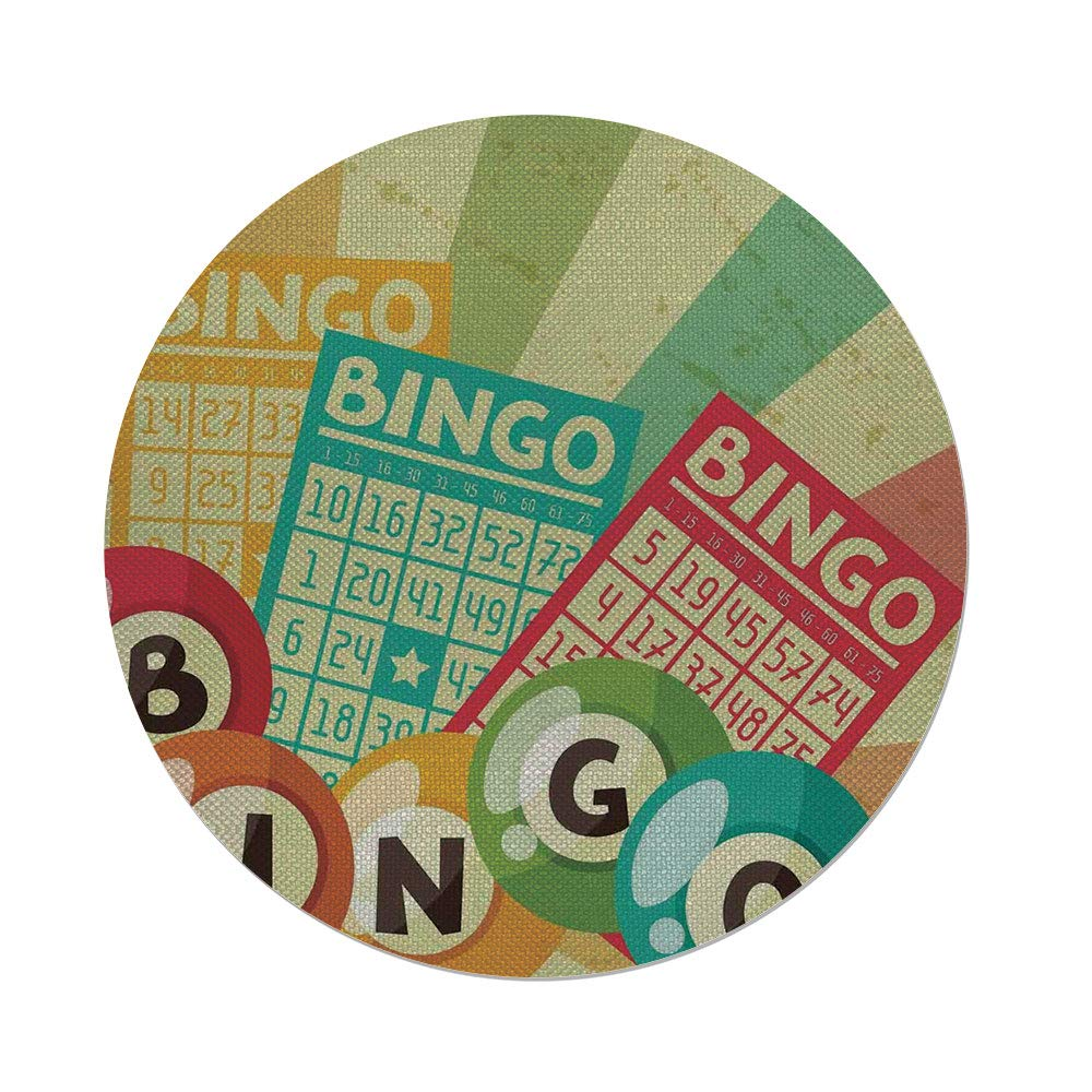 iPrint Cotton Linen Round Tablecloth,Vintage Decor,Bingo Game with Ball and Cards Pop Art Stylized Lottery Hobby Celebration Theme,Multi,Dining Room Kitchen Table Cloth Cover
