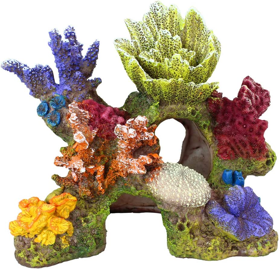 Danmu 1Pc of Polyresin Coral Ornaments, Aquarium Coral Decor for Fish Tank Aquarium Decoration 6 3/5