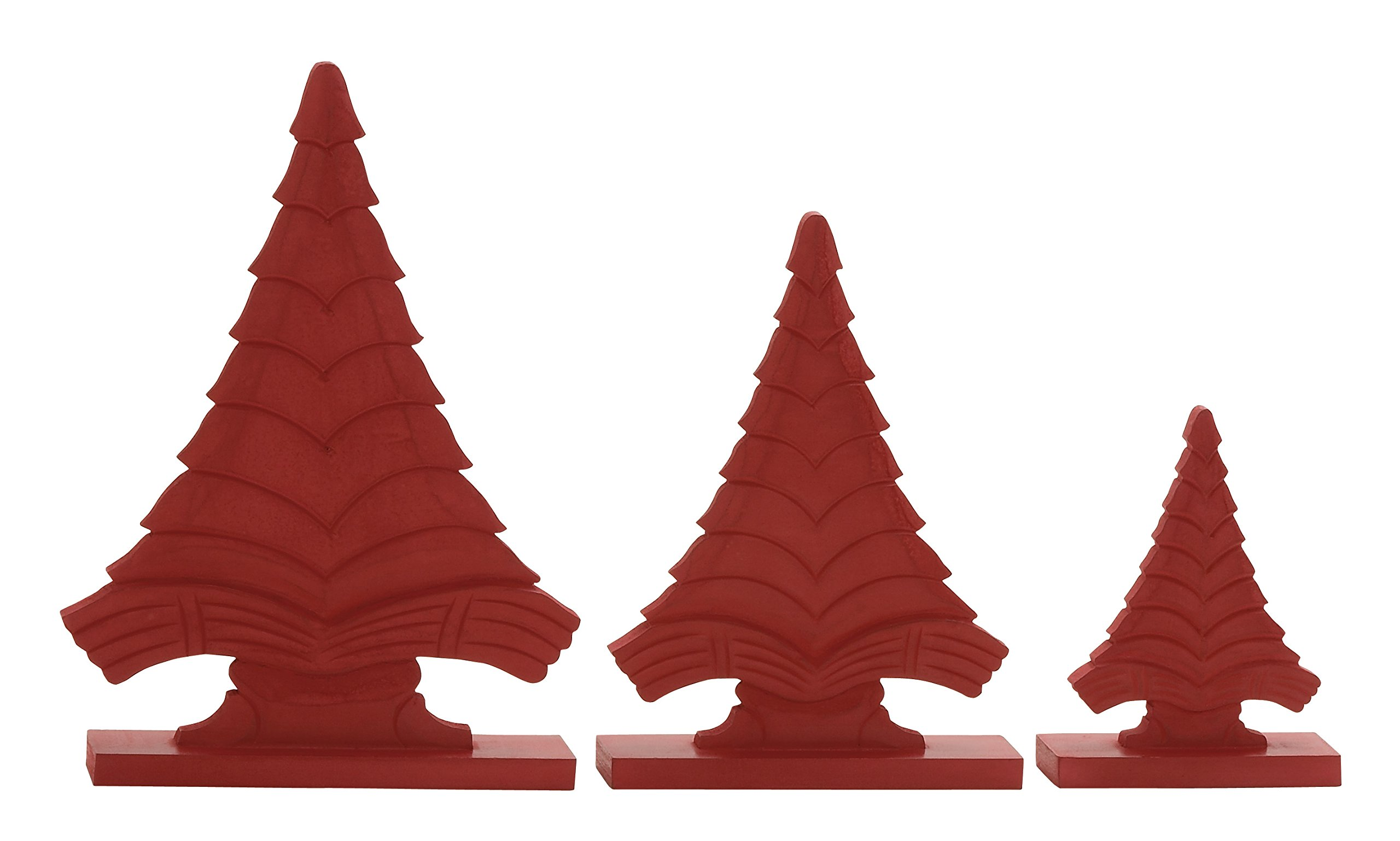 Plutus Brands Red Wood Christmas Tree (Set of 3), 8 by 12 by 14'' by Plutus Brands (Image #1)