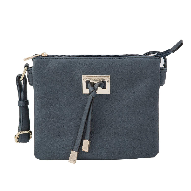 EMPERIA Double Gusset Crossbody Bag Central Tassel Adjustable   Detachable  Strap Small Size Bag NAVY 7dc6a3012d