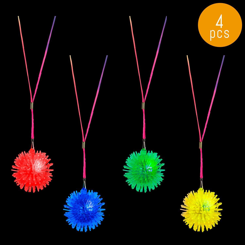 Lumistick LED Pom Pom Necklace | Soft Squeezy Fidget Sensory Anxiety Relief Locket | Flashing Mini Spiked Necklet | Lightup Puffer Neck Wear Toy (Assorted, 4 Pom Pom Necklace)