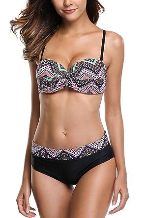 Charmleaks Underwire Two Set Swimwear Women Piece Swimsuit Padded Bikini Sexy Bandeau kTliuwOPXZ