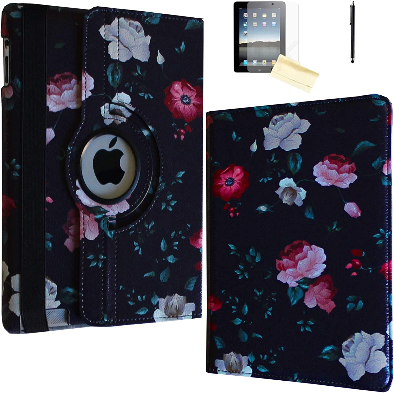 JYtrend Case for iPad Air (2013 Released), Rotating Stand Smart Case Cover Magnetic Auto Wake Up/Sleep for iPad Air (Air 1) A1474 A1475 A1476 (Black Flower)