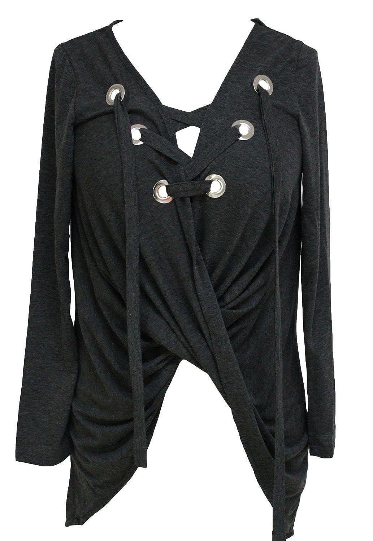 Maxmall - Camisas - Asimétrico - para Mujer Gris Oscuro Talla única: Amazon.es: Ropa y accesorios
