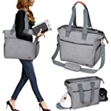 Luxja Breast Pump Tote with Pockets for Laptop and Cooler Bag, Breast Pump Bag for Working Mothers (Fits Most Major…