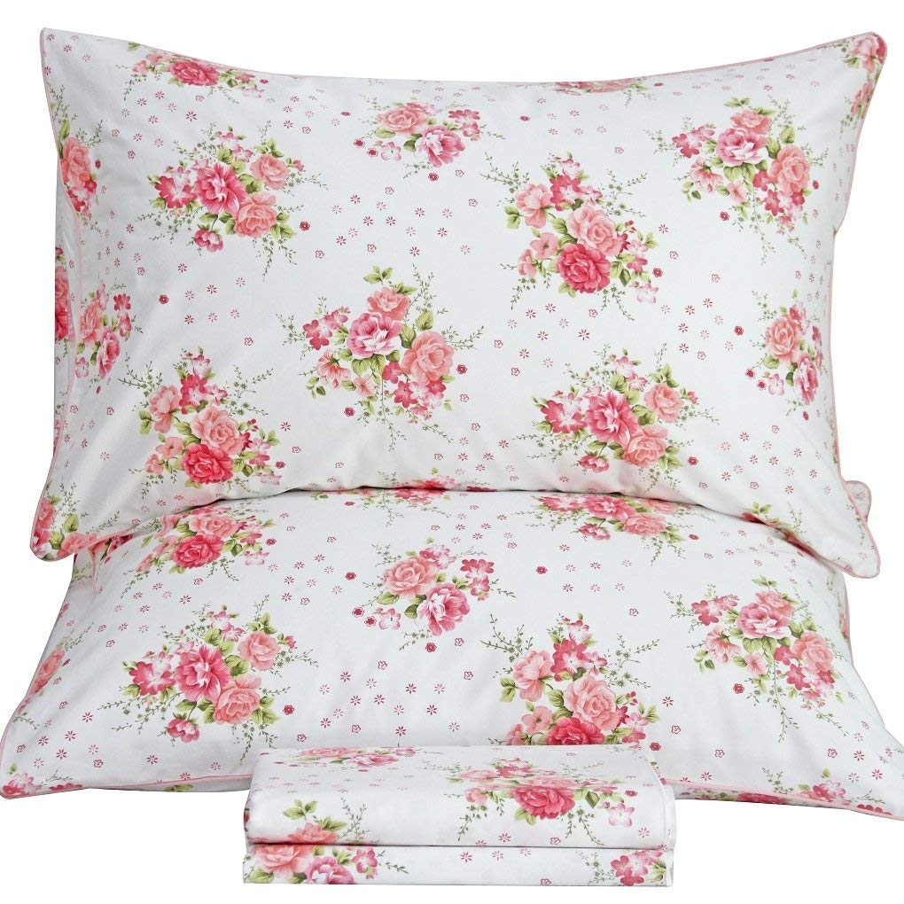 Queen's House Egyptian Cotton Bedding Shabby Roses Print Bed Sheets Sets Full