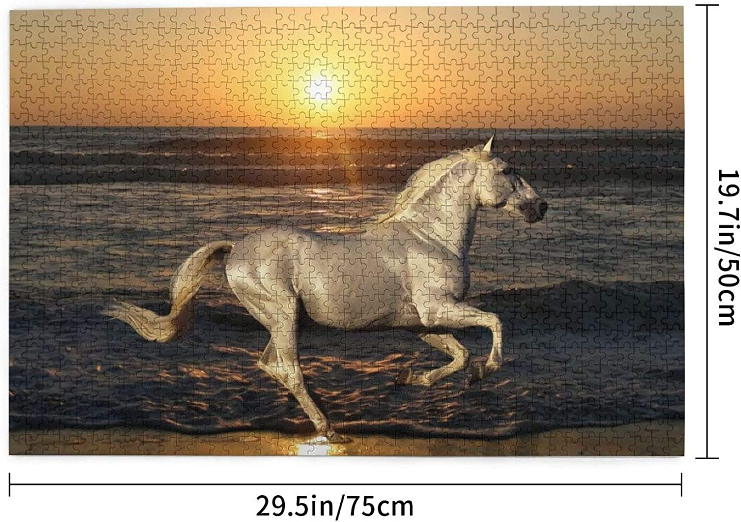 Great Gift for Family and Friends Nature Stallion Horse Animals Rides Sea 1000 Pieces Jigsaw Puzzles for Adults Intellectual Educational 29.7 X 19.8 Inch Large Piece Gaming Puzzle,Puzzle Art