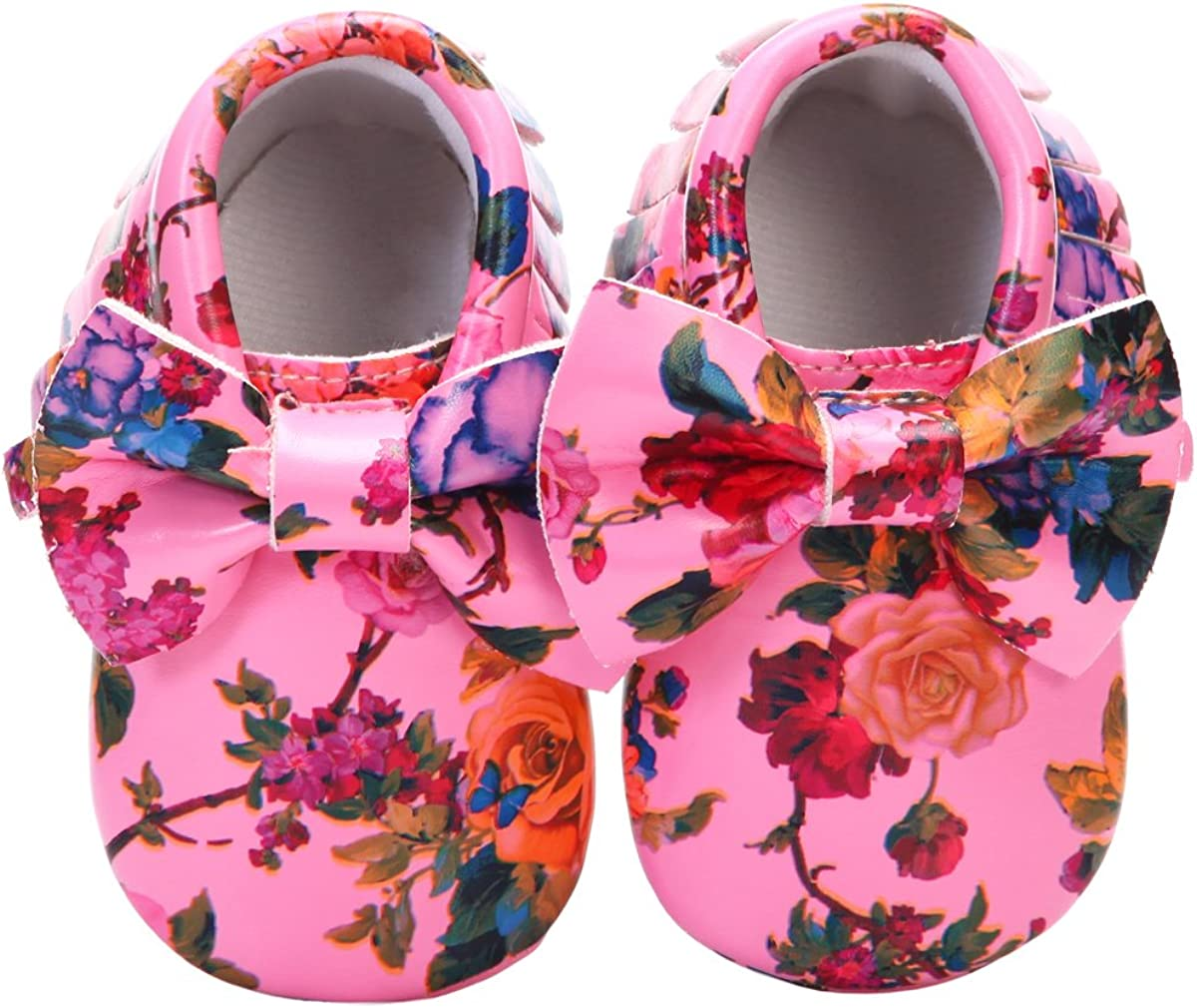 HONGTEYA Baby Moccasins with Rubber Sole Flower Print PU Leather Tassel Bow Girls Ballet Dress Shoes for Toddler