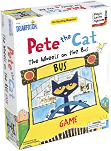 Briarpatch Pete The Cat Wheels On The Bus Sing-Along Puzzle Board Game for Kids, Ages 3 & Up, Multi
