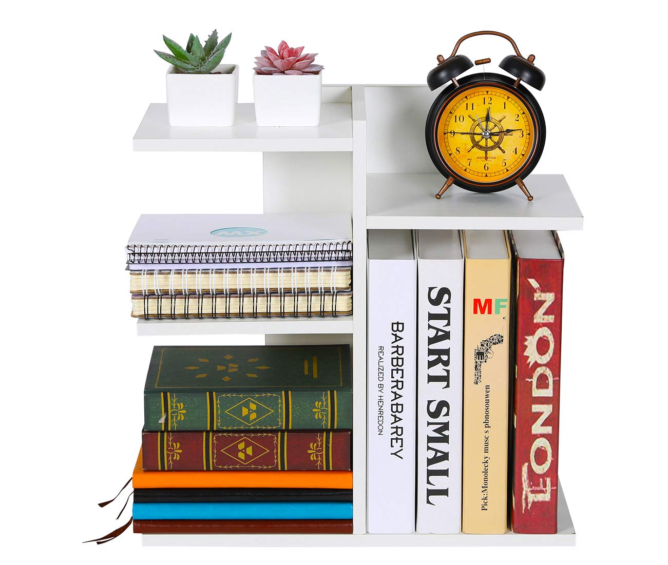 PAG Wood Desktop Bookshelf Assembled Countertop Bookcase Literature Holder Accessories Display Rack Office Supplies Desk Organizer, White by PAG (Image #3)