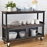 Briskly41 Industrial Style Rolling Dining Buffet Cart Kitchen Island Storage Hutch Table Server White or Black Vintage Look 3