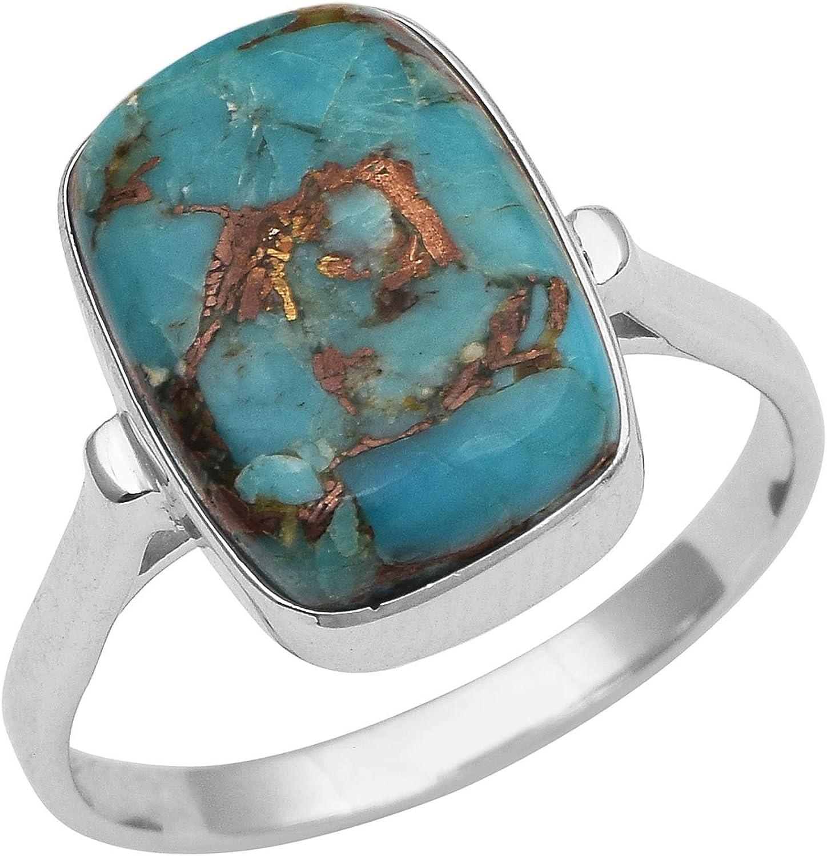 Shine Jewel Piedras Preciosas Hechas a Mano de Color Turquesa, Plata de Ley 925 clásica, Anillo de Gran declaración para Hombres y Mujeres.