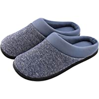 HomeTop Men's Comfort Breathable Cotton Memory Foam House Slippers Slip On Shoes Indoor/Outdoor
