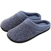 HomeTop Men's Comfort Breathable Cotton Memory Foam House Slippers Slip On Shoes Indoor/Outdoor