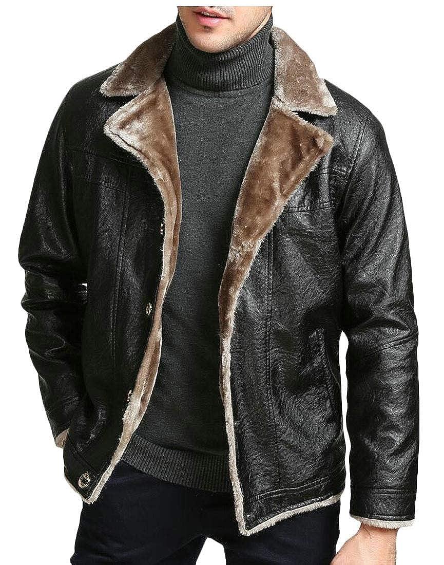 2 UNINUKOO Unko Men Winter Thermal Sherpa Fleece Lined Faux Lather Moto Jackets