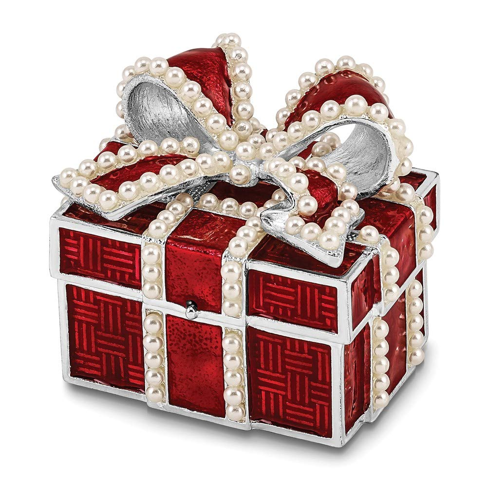 Jere Luxury Giftware Bejeweled Excitement Faux Pearl Red Gift Box, Pewter with Enamel Collectible Trinket Box with Matching Pendant Necklace