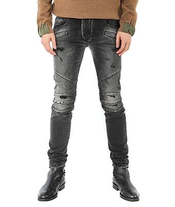 2e83aaa8 Wiberlux Pierre Balmain Men's Vintage Wash Distressed Biker Jeans 34 Dark  Gray