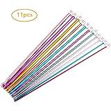 11 Pieces Crochet Hooks Aluminum Knitting Needles Set, Multicolor, 2 mm to 8 mm#13-MYZG