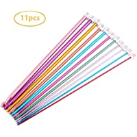 Juego de 11 agujas de tejer de crochet de aluminio, Multicolor, 2 mm a
