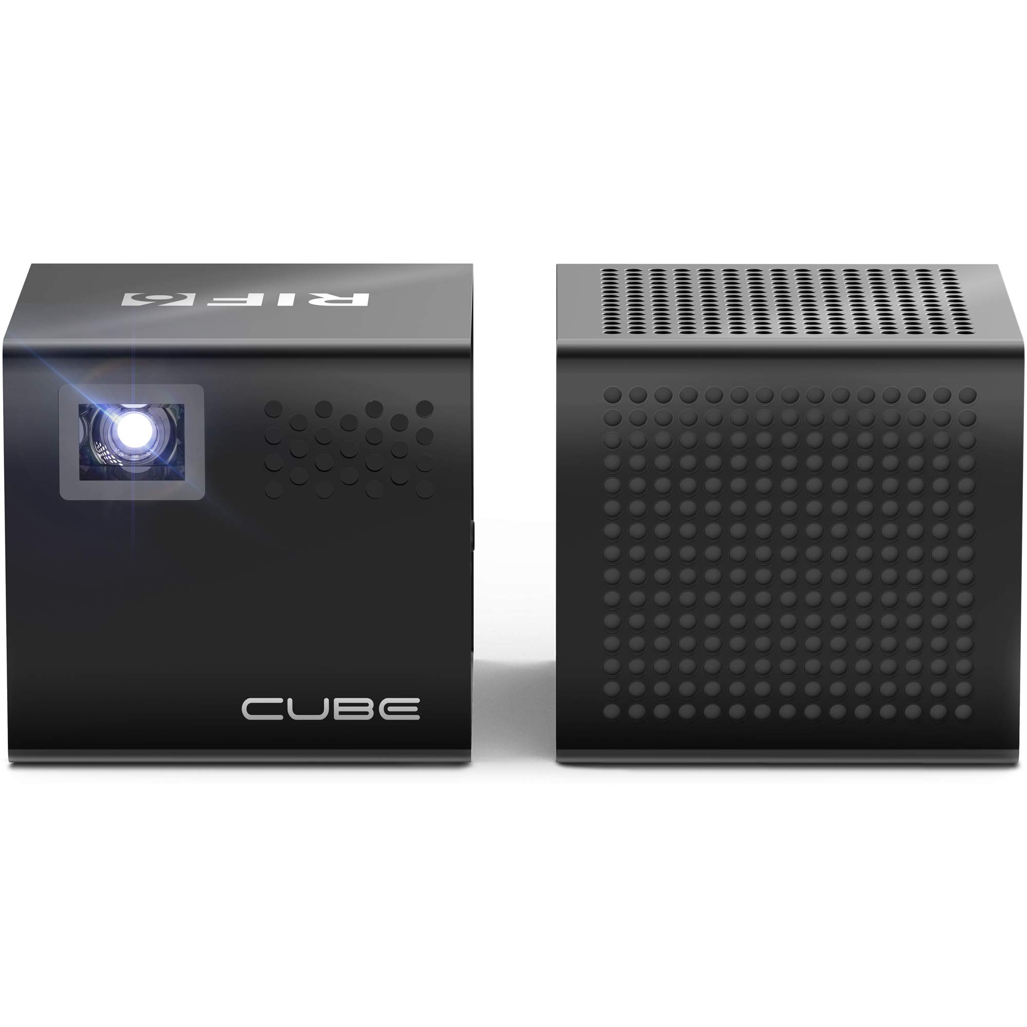RIF6 Cube Full LED Mini Projector - 1080p Supported Portable Projector with Built-in Speakers, HDMI Input for Smartphone, Laptop, Gaming and Movies - Includes Bluetooth Speaker, Tripod and Remote