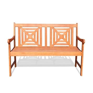 Malibu Patio Furniture Hardwood Outdoor Garden Bench, 4 Foot