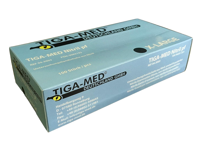 Pack de 100 /sin talco desechables guantes tama/ño XL nitrilo azul sin l/átex Tiga-Med/