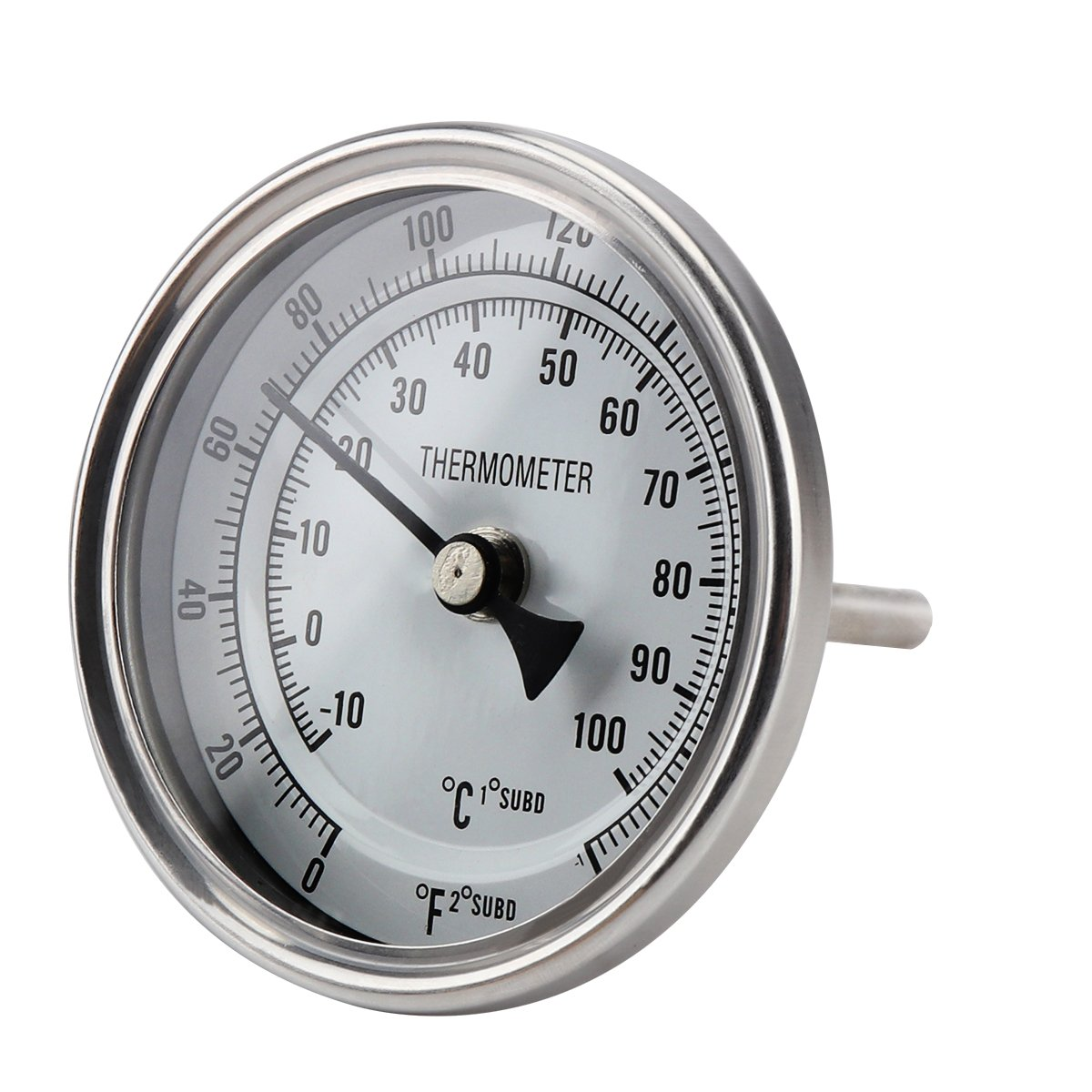 Ferroday Stainless Steel Thermometer Dial Thermometer 1/2 NPT Homebrew Kettle Thermometer With Lock Nut & O-ring ( 0-220º F, -10-100º C) Welbrew COMINHKPR127442