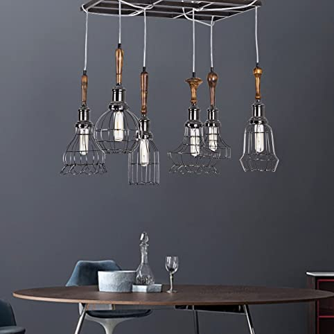 Yunji industrial vintage pendant light rustic wood grid chandelier yunji industrial vintage pendant light rustic wood grid chandelier max 240w with 6 multi shade mozeypictures Images