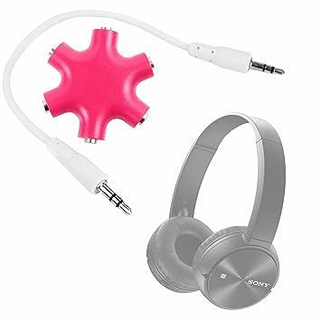 DURAGADGET Divisor De Auriculares Rosa Para Auriculares Philips SHB8750NC/27 , SHB8850NC , SHP1800/