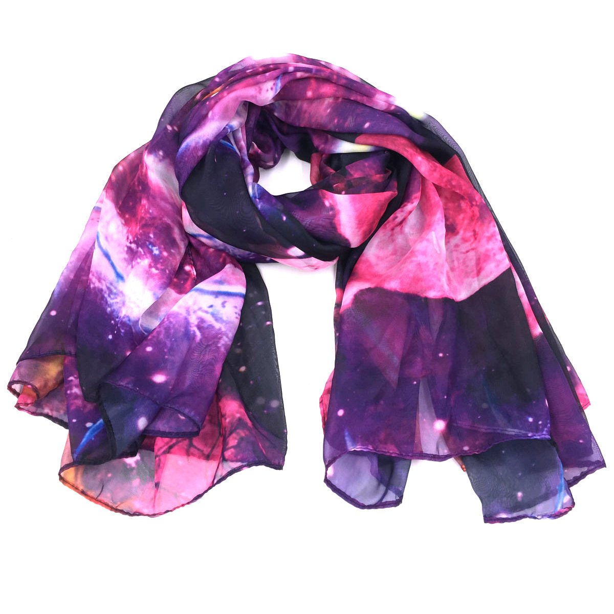 Fashionable Galaxy Star Space Print Large Chiffon Scarf - Purple