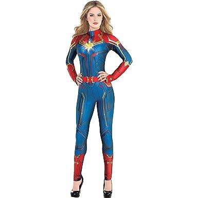Amazon.com: Costumes USA Light Up Captain Marvel Halloween Costume For  Women, Superhero Jumpsuit, Medium, Dress Size 6 8: Clothing