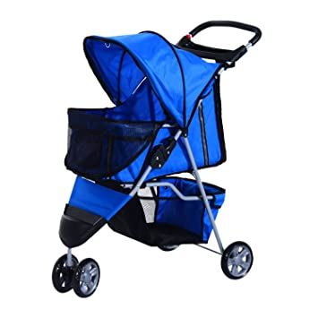 Pawhut Pet Travel Stroller Cat Dog Pushchair Trolley Puppy Jogger Carrier Three Wheels Blue