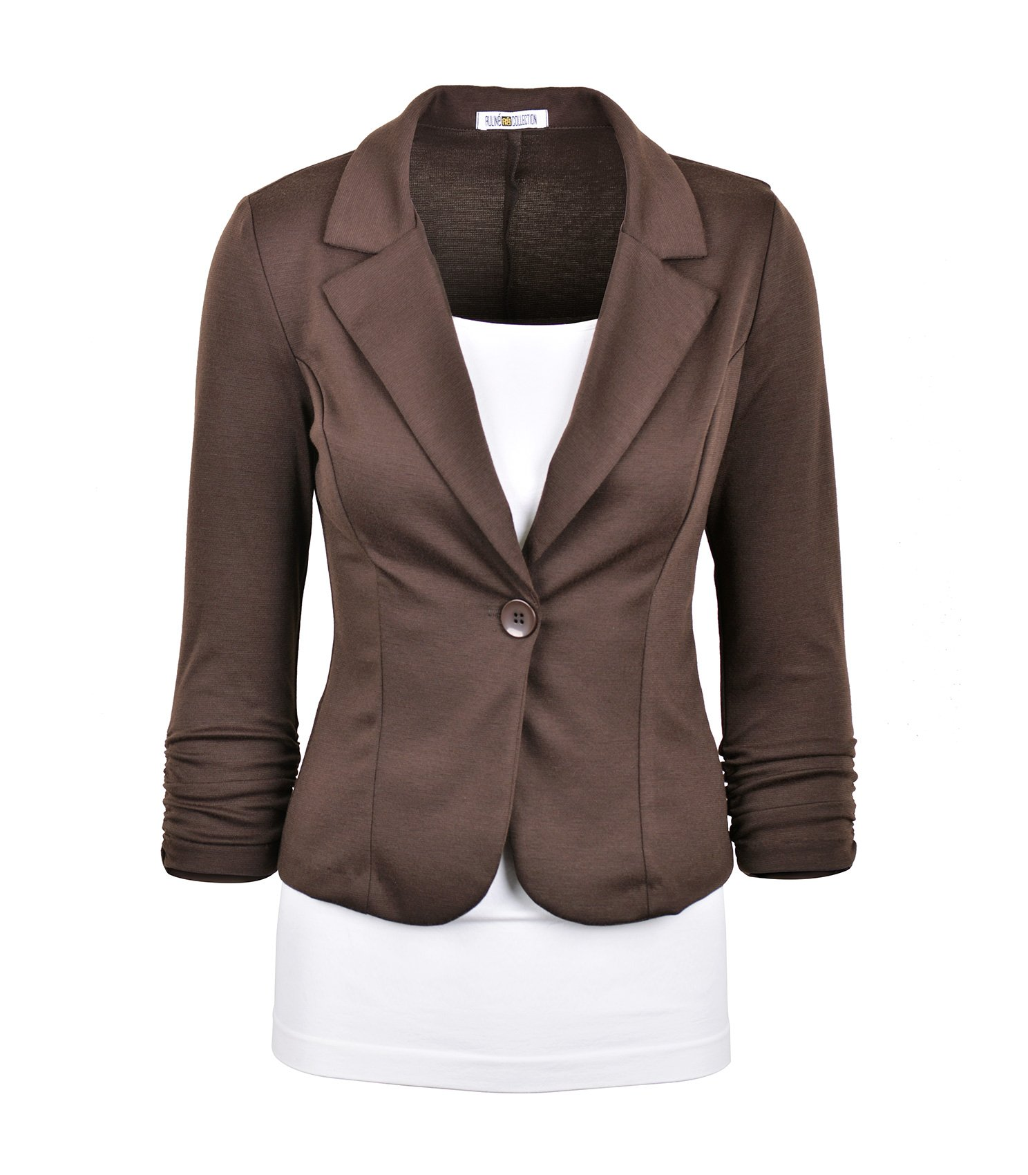 Auliné Collection Women's Casual Work Solid Color Knit Blazer Brown Small