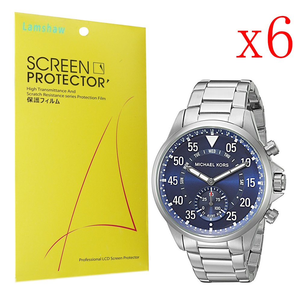 For Michael Kors Gage Screen Protector, Lamshaw Premium High Definition Ultra Clear Screen Protector for Michael Kors Gage Hybrid Smart Watch (6 pack)