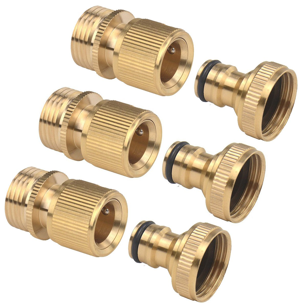 3Sets of Brass Male and Female 3/4 Inch Garden Hose End and Quick Connectors