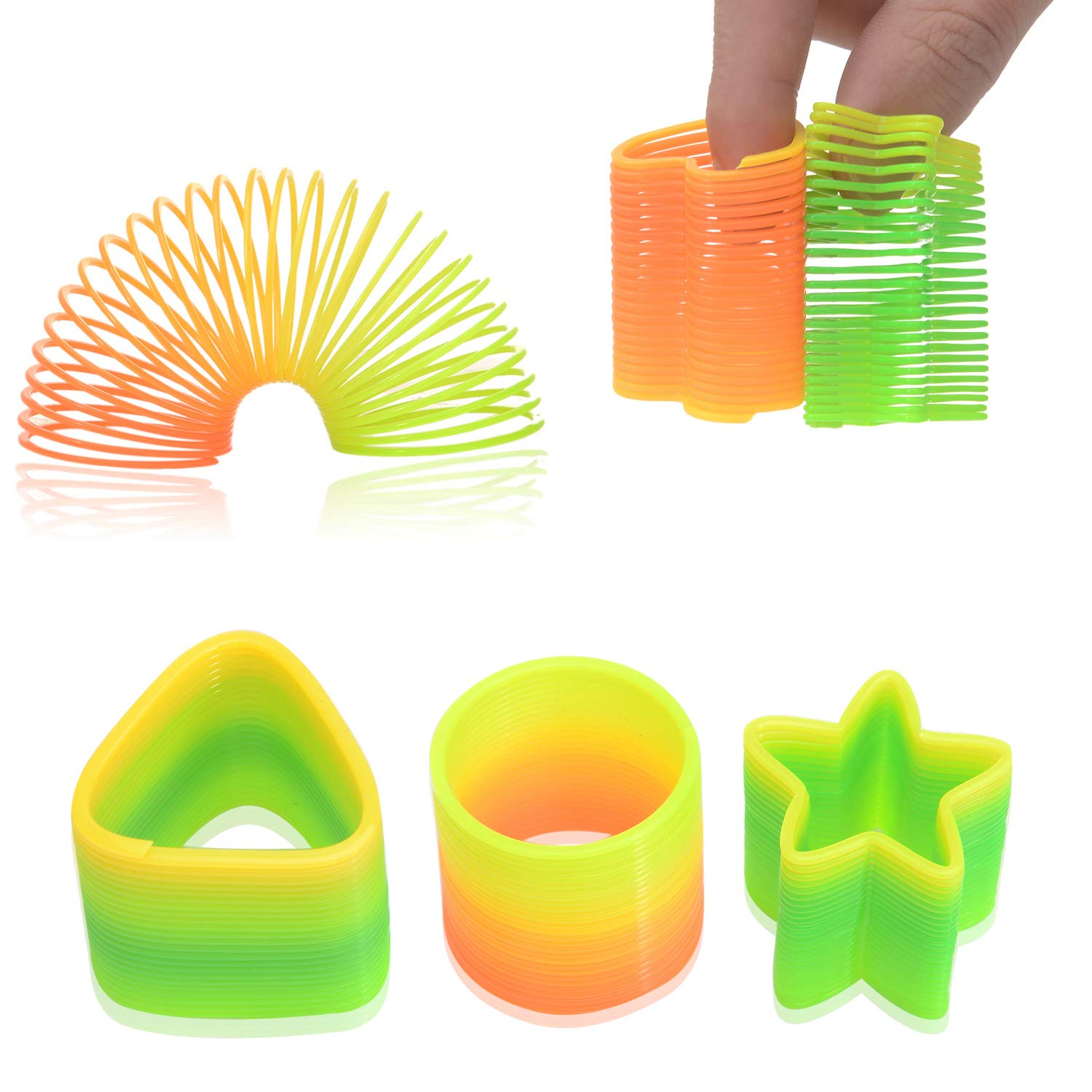 50 Assorted Miniature Rainbow Spring Slinky Toy Multiple Shapes Perfect Size for Kids Bright Colors and Durable Designs Awesome As Birthday Party Favors Piñata Fillers and Stocking Stuffers