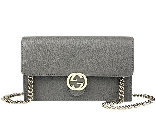788b4f5b0 Gucci Interlocking GG Grey Leather Crossbody Chain Wallet 510314 1226:  Amazon.ca: Shoes & Handbags