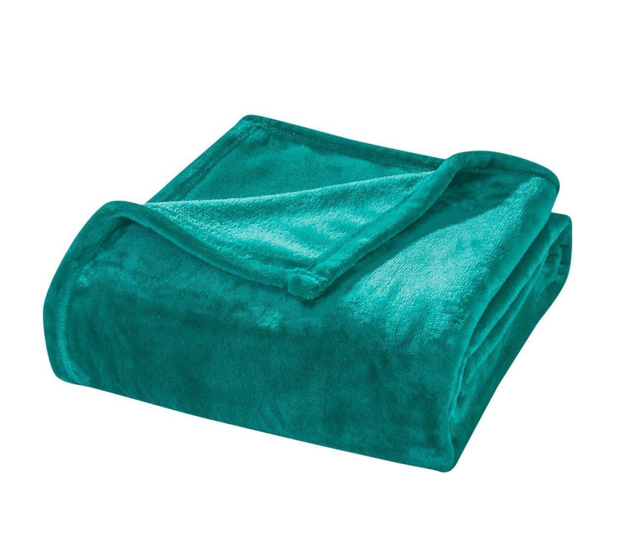 Honeymoon Velvet Flannel Fleece Throw Lightweight Cozy Plush Microfiber Blanket, Teal