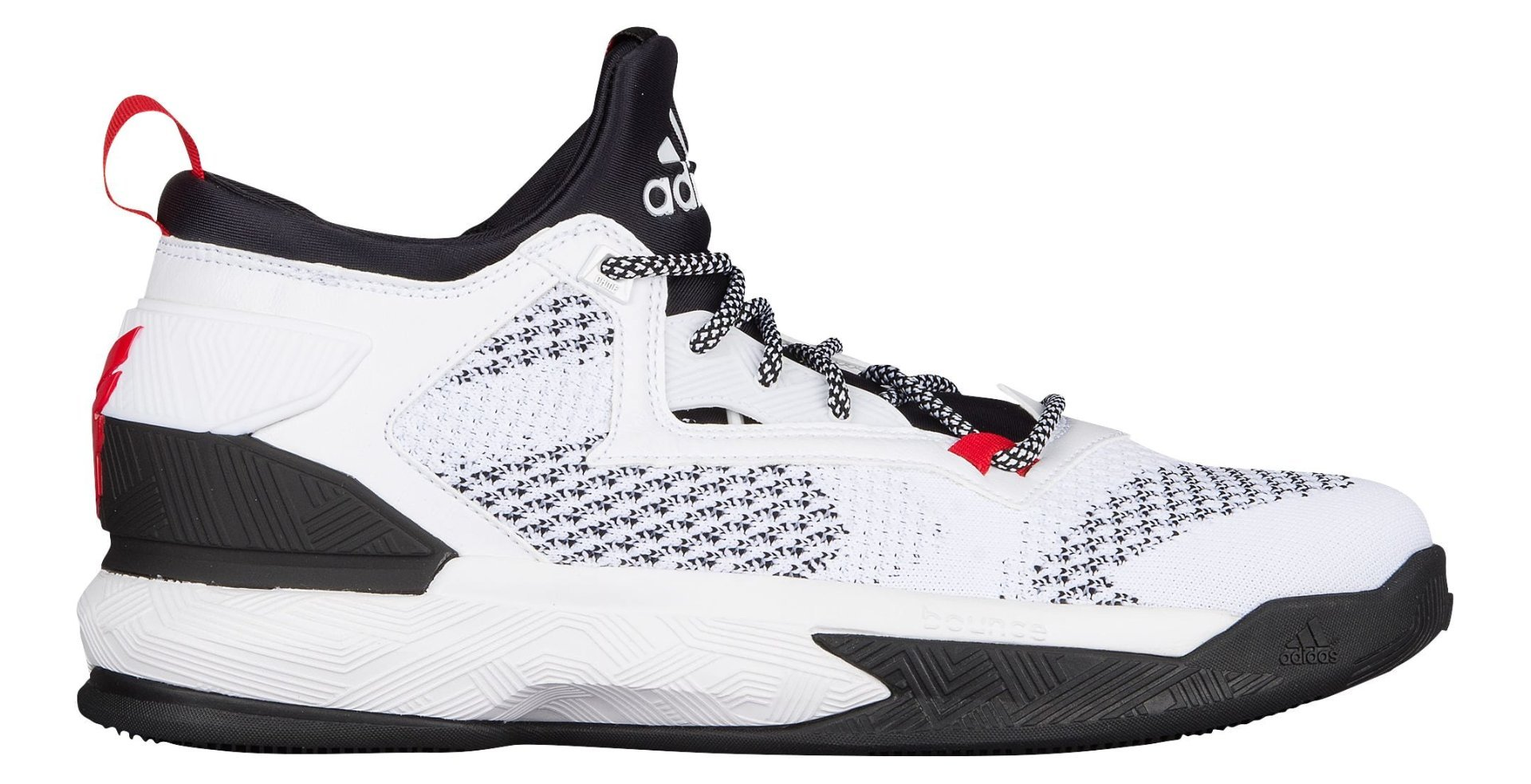 2c267c865bc65 adidas D Lillard 2 Primeknit Basketball Shoes (13, White/Black/Scarlet)