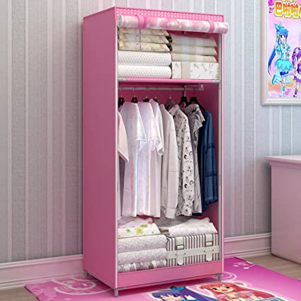 Generic Brand New Single Portable Dustproof Wardrobe Cartoon Closet For  Kids Bedroom Furniture Bold Armoire With