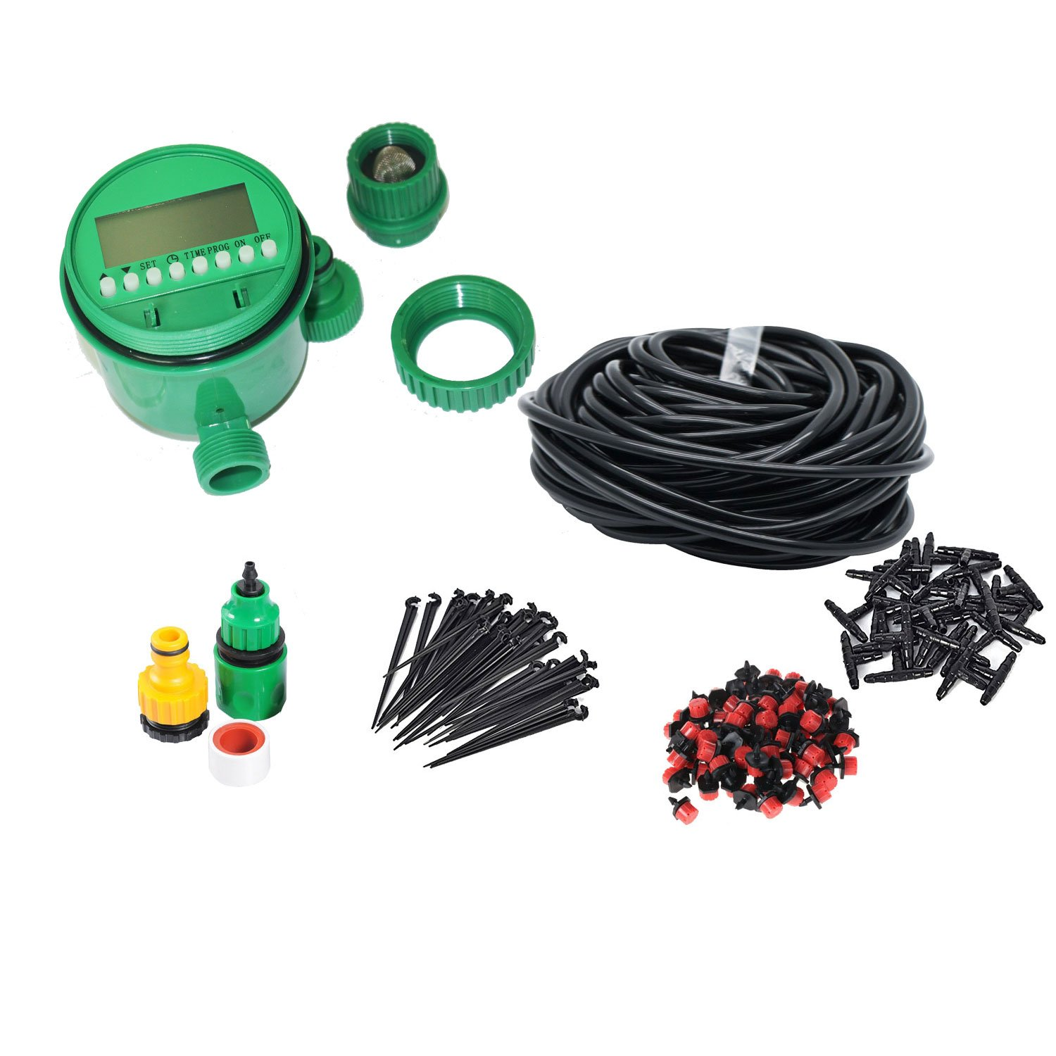 Himifuture 82FT Drip Irrigation Kit Timer Sprinklers System Garden Included Irrigation Tubing Hose Timer Drippers Various Watering Drip Kits