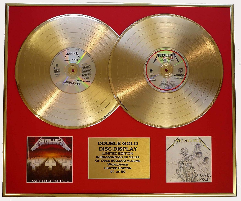 METALLICA//Zweifache Goldene Schallplatte DISPLAY//Limitierte Edition//COA//MASTER OF PUPPETS /& JUSTICE FOR ALL
